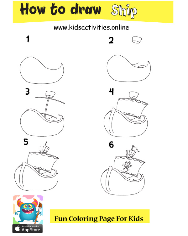 How to draw a ship step by step