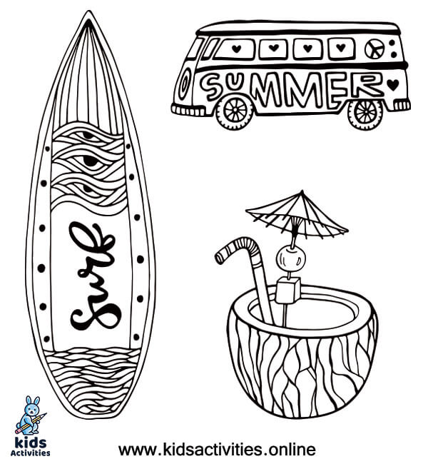 Summer Doodle coloring page to print