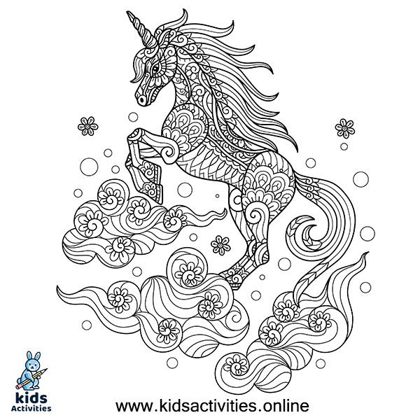 Unicorn coloring page for 8-year-olds