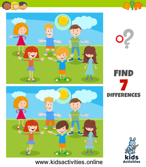 Printable spot the 7 differences between the two pictures printable