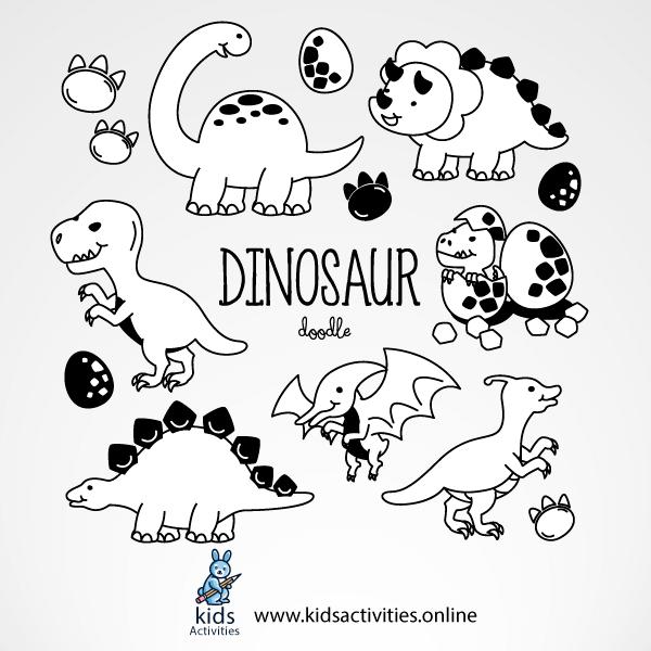Cute dinosaur drawing - dinosaur doodle draw