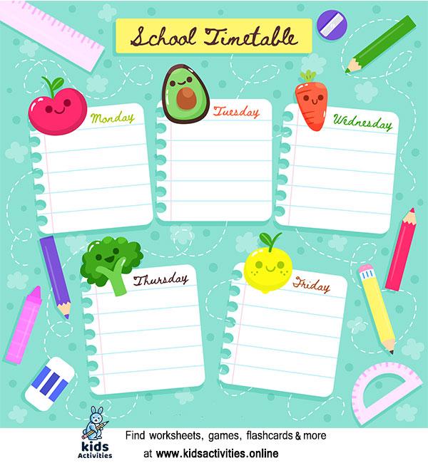 School timetable printable free