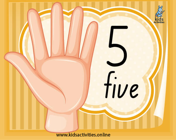 Number flashcards for preschool - free printable counting fingers