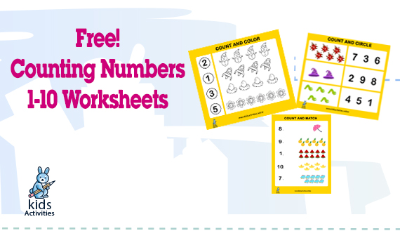 Free Counting Numbers 1-10 Printable Worksheets ⋆ Kids Activities