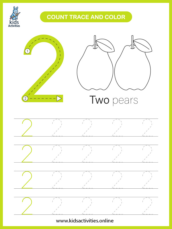 Printable preschool math worksheets for counting number 2