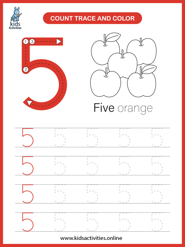 Kindergarten math worksheets for free - counting number 5