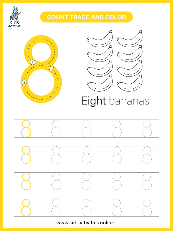 Printable number tracing worksheets for preschoolers - counting number 8