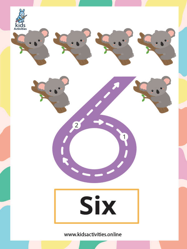 Free printable number cards 1-10 with dots - Number 6