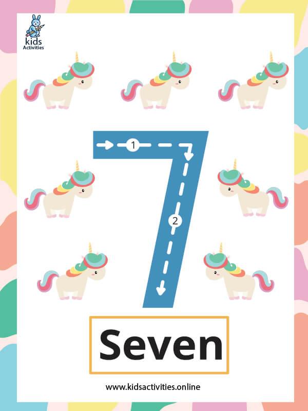 Number flashcards free printable - Number 7