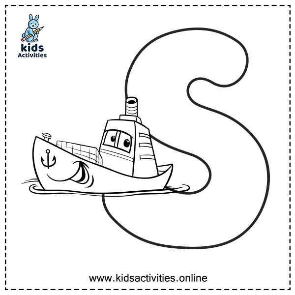 Uppercase alphabet coloring pages - Letter s