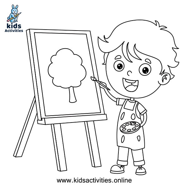 Easy boy coloring pages