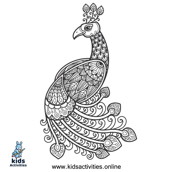 Free peacock coloring book to print