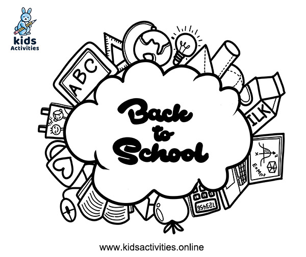 Free welcome back to school image black and white