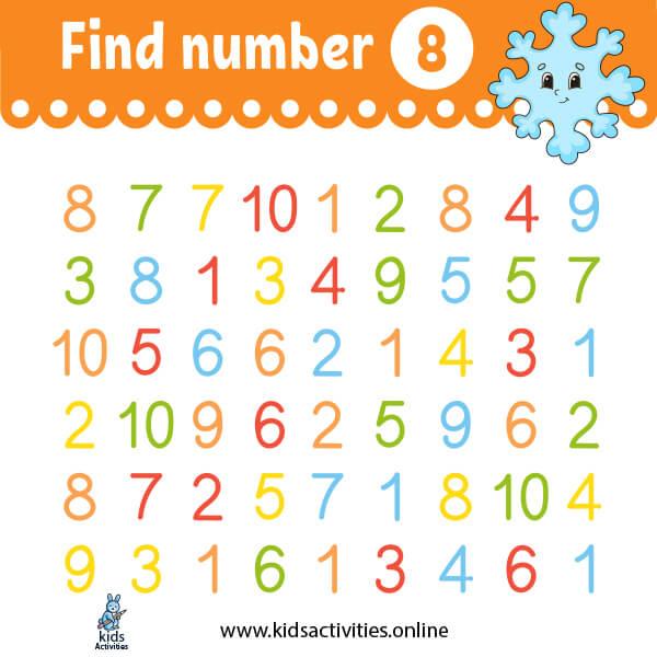 Math for kindergarten worksheets: find number 8