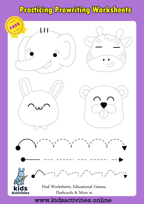 Practicing prewriting worksheets for kindergarten