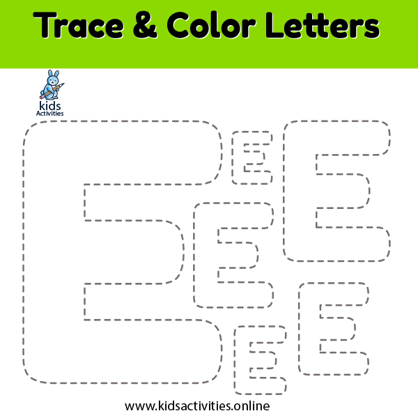 trace and color alphabet writing worksheets Ee