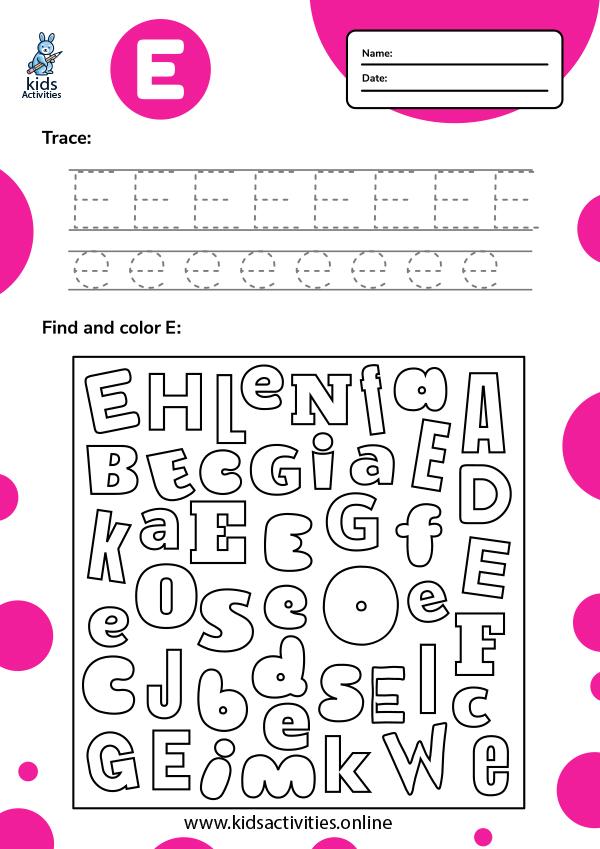 Letter Ee worksheets