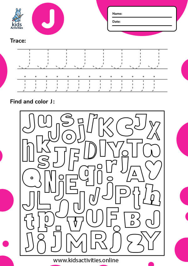 Tracing letter j worksheets.