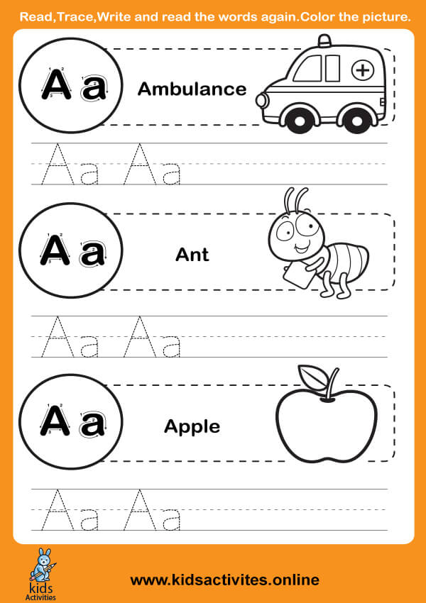 Free Alphabet Tracing Worksheets (Letter A-a)