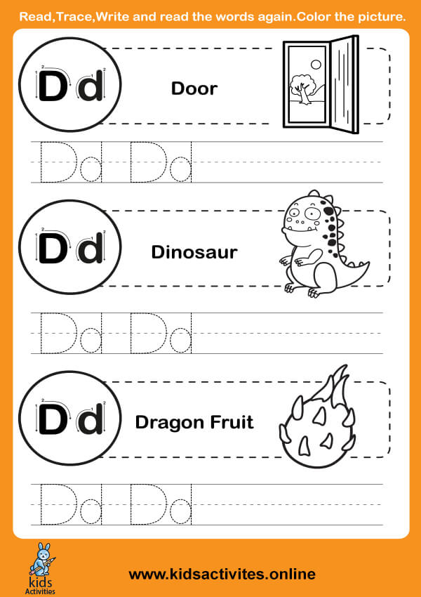 Capital and Small Letters Worksheets (Letter D-d)