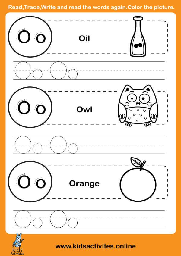 Alphabets Tracing Worksheets (Letter O-o)