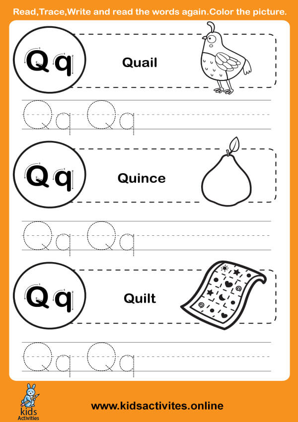 Tracing Letters Worksheets (Letter Q-q)