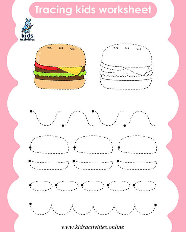 Tracing lines worksheets for 4 year olds