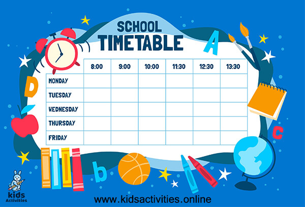 Daily School Scheduling Template Free