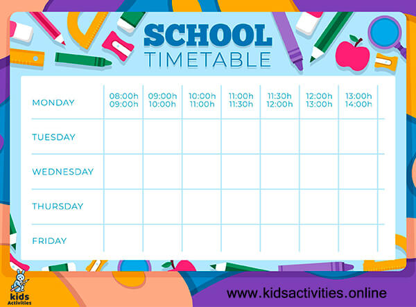 Free Class schedule template for school