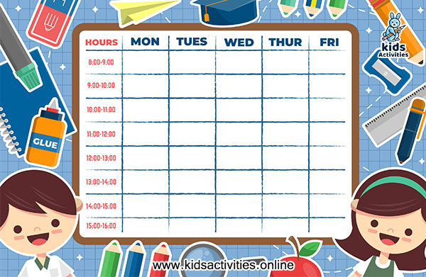 Free timetable format for daily routine