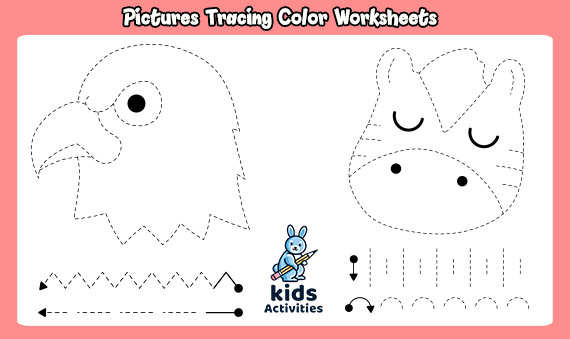 Pictures Tracing Color Free Worksheets