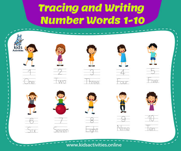 tracing and writing number words-1-10