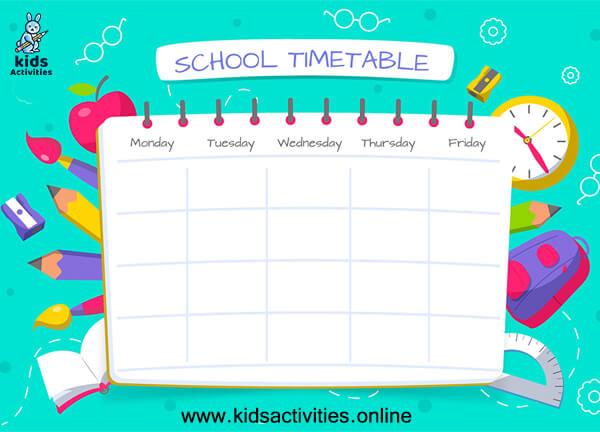 Free printable school schedule template 2021