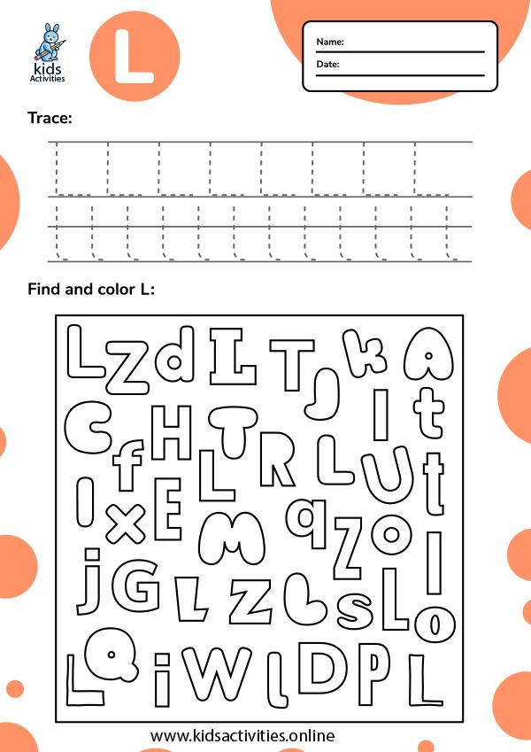 Tracing letter l worksheets