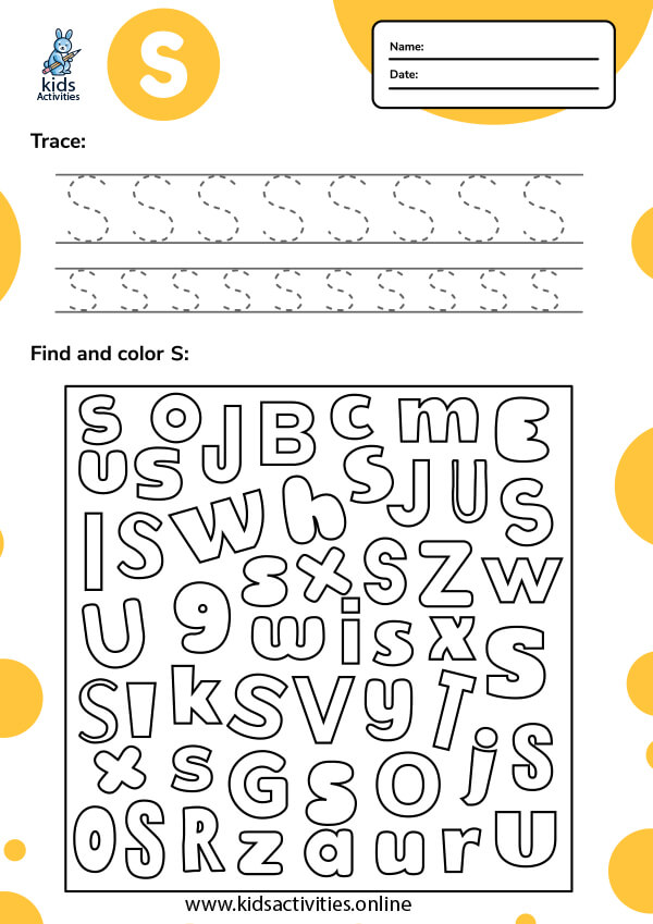 Free letter S tracing worksheets for preschoolers pdf