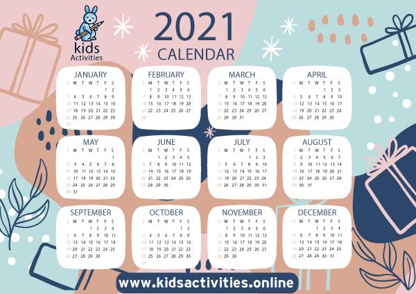 Free 2021 Calendar Template, Doodle Art pdf