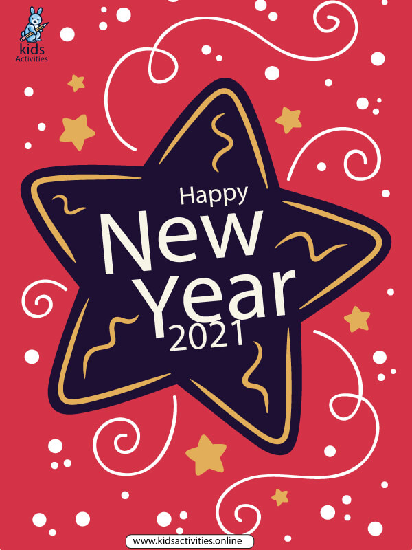 Free New Year 2021 Greetings Card Printable