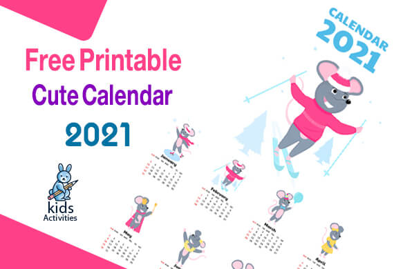 Printable Cute Calendar For 2021