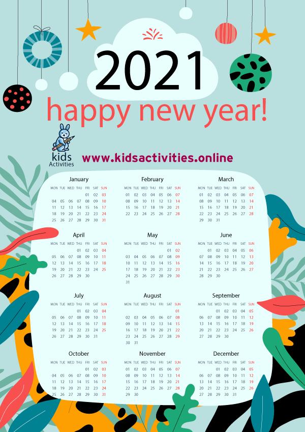 Free new year 2021 calendar template PDF