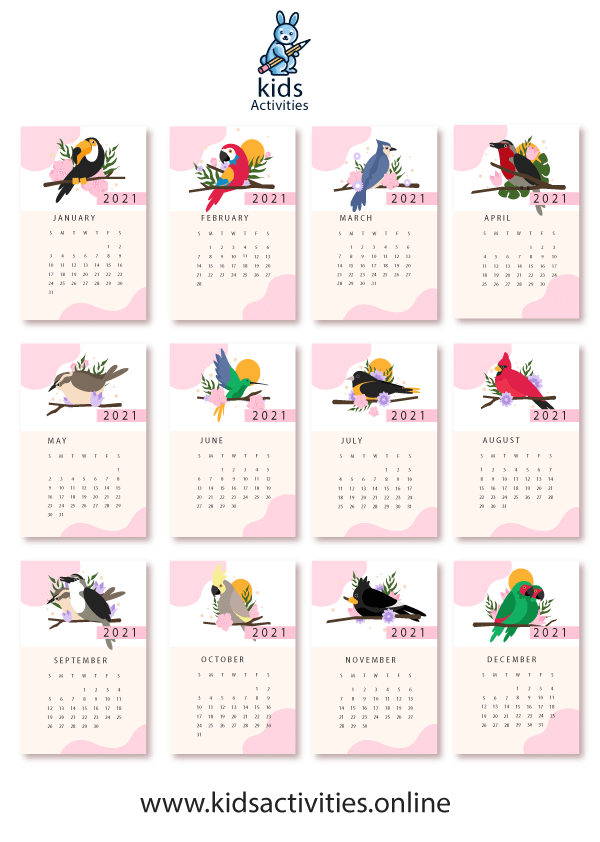 Free printable bird wall calendar 2021