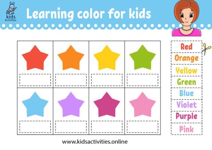 star shape - colors worksheets
