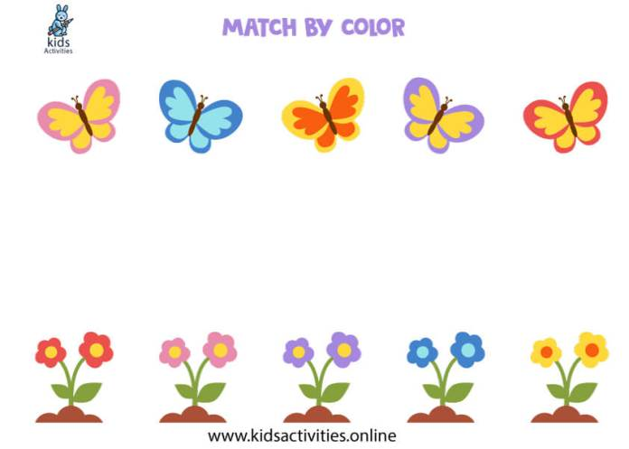 match by color - butterflies