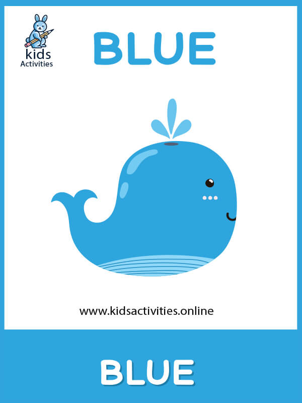 A blue color card - free basic colors flashcards