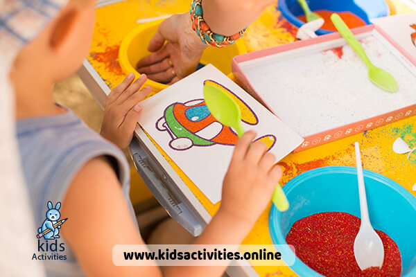 drawing with colored sand