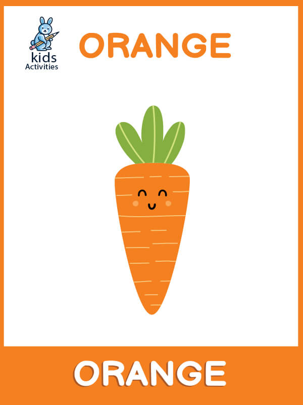 orange coloring flashcard on the shape of a carrot