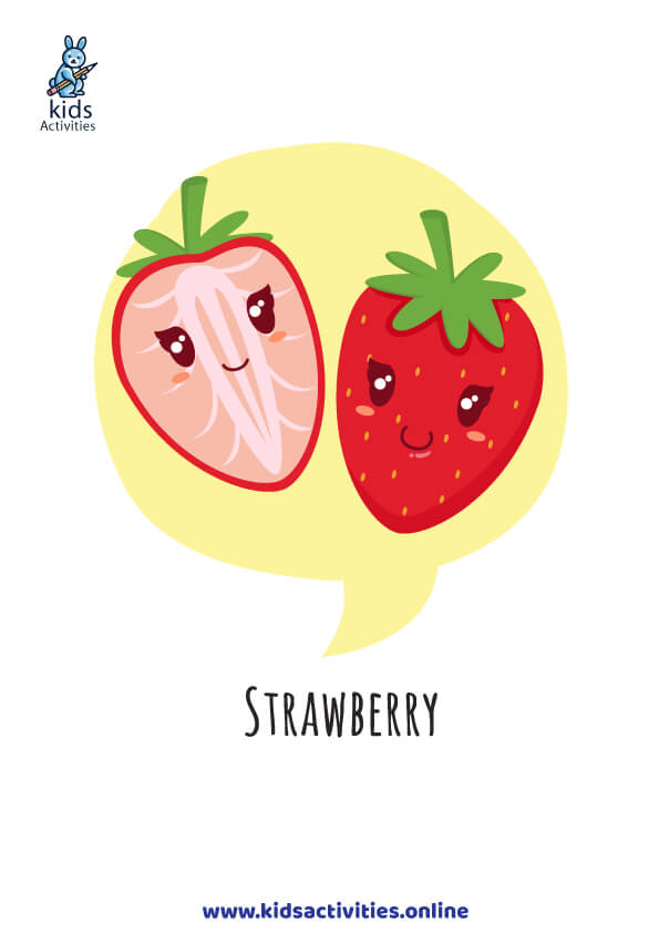 cute strawberry - free fuits flashcards