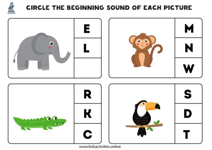 phonics for kindergarten worksheets