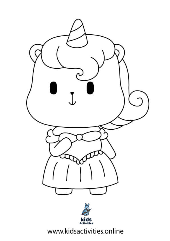 Cute Unicorn horse coloring pages