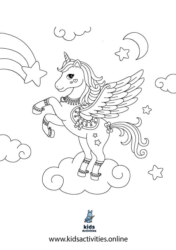 Fairy and unicorn coloring pages