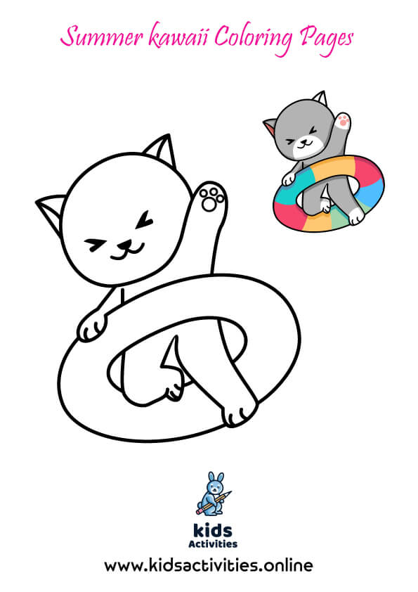 Free Ptintable Summer kawaii Coloring Pages For Kids